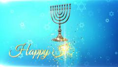 Hanukkah menorah, Happy hanukkah, Israel, background Stock Footage