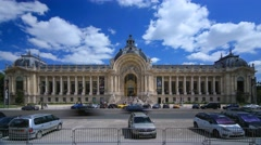 The clear sky and clouds over the Petit Palais in Paris Stock Footage