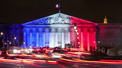 A Timelapse View on France Parliament in Paris with French Flag Stock Footage