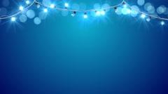 Christmas blue light bulbs loopable animation 4k (4096x2304) Stock Footage