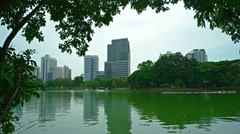 Modern, Commercial, Highrise Buildings over an Urban Lake Park Stock Footage