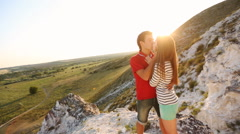 Stock Video Footage of appointment of a young couple on a mountain top