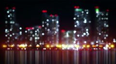 Blurred skyscrapers on shore loopable urban background 4k (4096x2304) Stock Footage