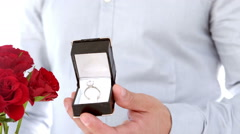 Close up of man making a proposal of marriage Stock Footage