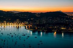 Rio de Janeiro skyline at night, Brazil - stock photo