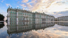 The morning reflection of the State Hermitage Museum in Saint Petersburg Stock Footage