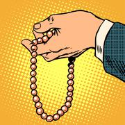 Beads decoration gift prayer beads religion - stock illustration
