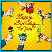 Happy birthday to you gifts congratulations - stock illustration