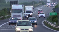Trucks And Cars On Highway In Soutern Europe, Italy At Day. Stock Footage