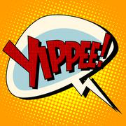 Yippee win comic book bubble text Stock Illustration