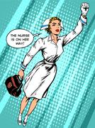 Super hero nurse flies to the rescue - stock illustration