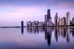 Skyline seen from North Avenue Beach, Chicago, Illinois, USA - stock photo