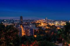 Aerial view of Barcelona, Spain at night Stock Photos
