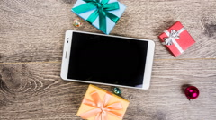 christmas gifts on wood - stock footage