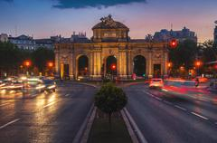 Night view of The Puerta de Alcala in Madrid Stock Photos