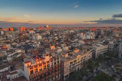 Aerial view of Valencia, Spain in the evening - stock photo
