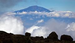Mount Meru  seen from Mount Kilimanjaro, Tanzania - stock photo