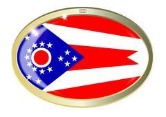 Ohio State Flag Oval Button - stock illustration