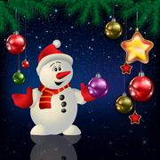 Celebration greeting with Christmas tree and snowflakes - stock illustration