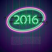Ultraviolet Glowing Neon Sign 2016 - stock illustration