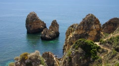 Ponta da Piedade in Algarve Stock Footage