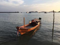 Anchored motorboat, Phuket, Thailand - stock photo