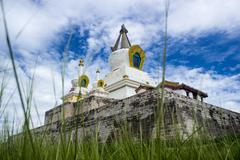 Low angle view of a temple, Mongolia - stock photo