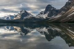 Bow lake in the morning, Canadian Rockies, Banff National Park, Alberta, Canada Stock Photos