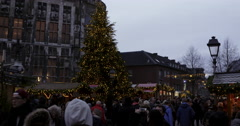 Crowd Germany Christmas market evening Stock Footage