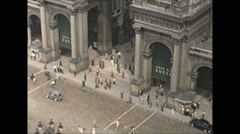 Vintage 16mm film, 1955, Italy, Milan square Galleria Vittorio Emanuelle Stock Footage