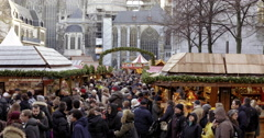 Busy crowd christmas market Germany Stock Footage