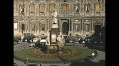 Vintage 16mm film, 1955, Italy, Milan square b-roll - stock footage