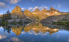 Reflection of Minarets in the Lake, Inyo National Forest, California, USA - stock photo