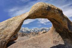 Mount whitney seen from mobius arch, Alabama Hills, California, USA Stock Photos