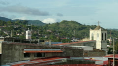 Overview of Matagalpa village from rooftop Stock Footage