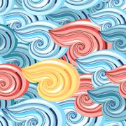 graphic pattern of waves - stock illustration