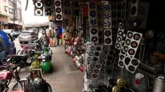 Air fan shop, production showcase, many ventilators Stock Footage