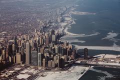 Aerial view of Chicago and Lake Michigan, Illinois, USA Kuvituskuvat