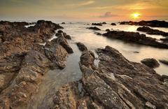 Sunrise over Pantai Pandak, Kuala Terengganu, Malaysia Stock Photos