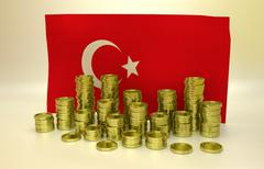 Golden coins and Turkish flag Stock Illustration