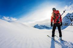 Skiing: rear view of a skier in powder snow. Italian Alps, Europ - stock photo