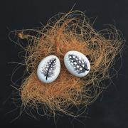 Two painted eggs in a nest for Easter Stock Photos