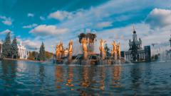Fountain Friendship of Nations on VDNH in Moscow, Russia . Time-lapse Stock Footage