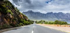 Straight empty road, Cape Town, South Africa - stock photo