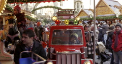 Merry go round Christmas market Germany with children Stock Footage