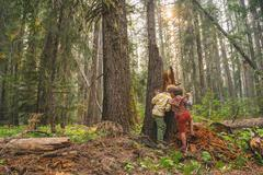 Two boys playing in the forest - stock photo