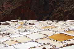 Maras salt terraces near Urubamba, Cusco, Peru - stock photo