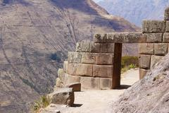 Gate of Incan citadel, Pisac, Cusco, Peru Stock Photos