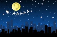 Santa Flying with sledge on Night City - stock illustration