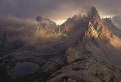 Storm over Dolomite mountains, South Tyrol, Italy - stock photo